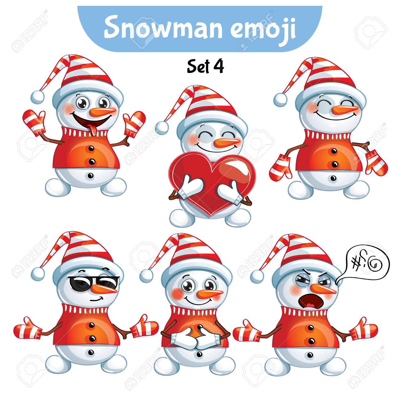 Vector set of cute snowman characters. Set 4 - 89937991