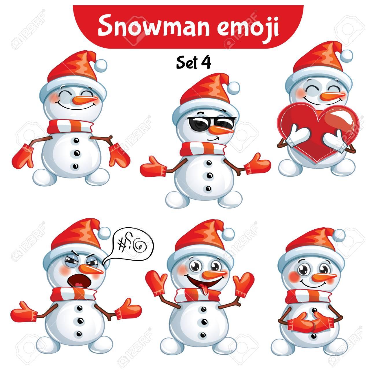 Vector set of cute snowman characters. Set 4 - 90096921