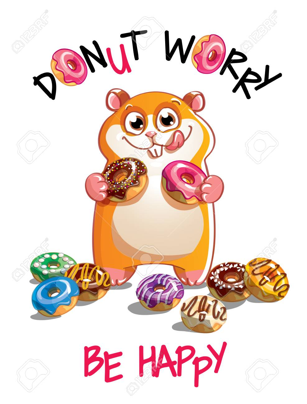 Vector illustration of cartoon hamster with donuts - 98512862