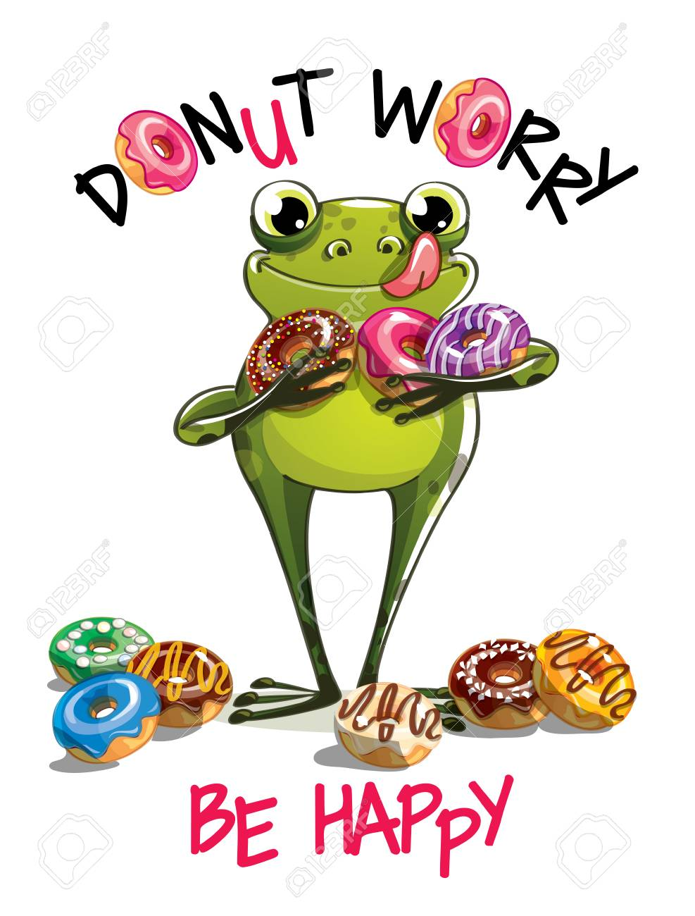 A Vector illustration of cartoon frog with donuts. - 98584865