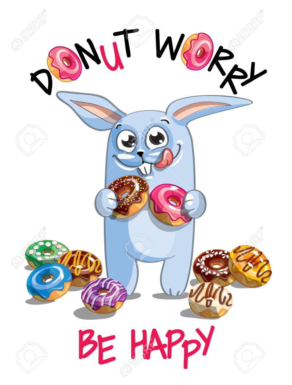 Vector illustration of cartoon rabbit with donuts. - 98677366