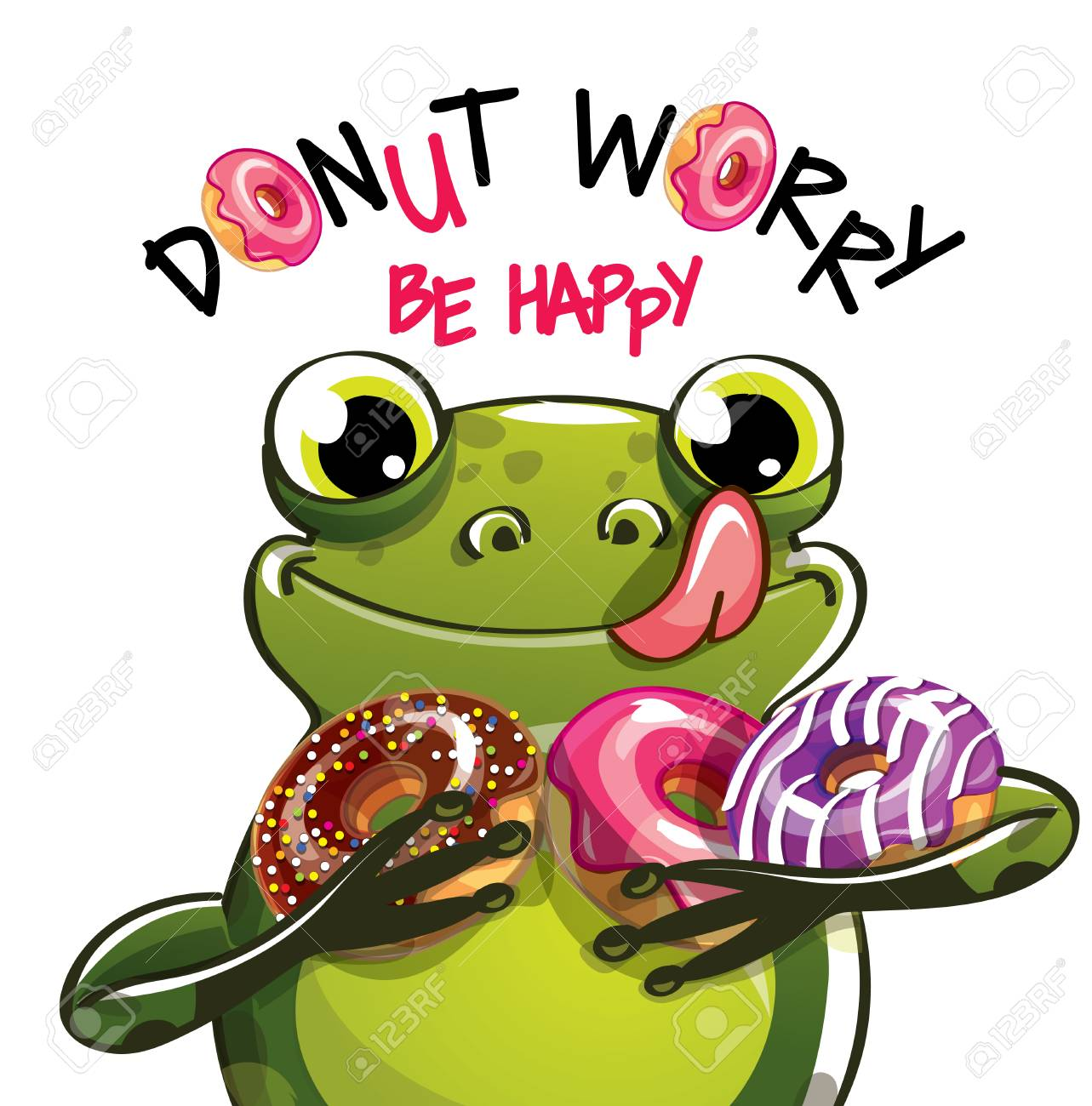 Vector illustration of cartoon frog with donuts. - 98909669