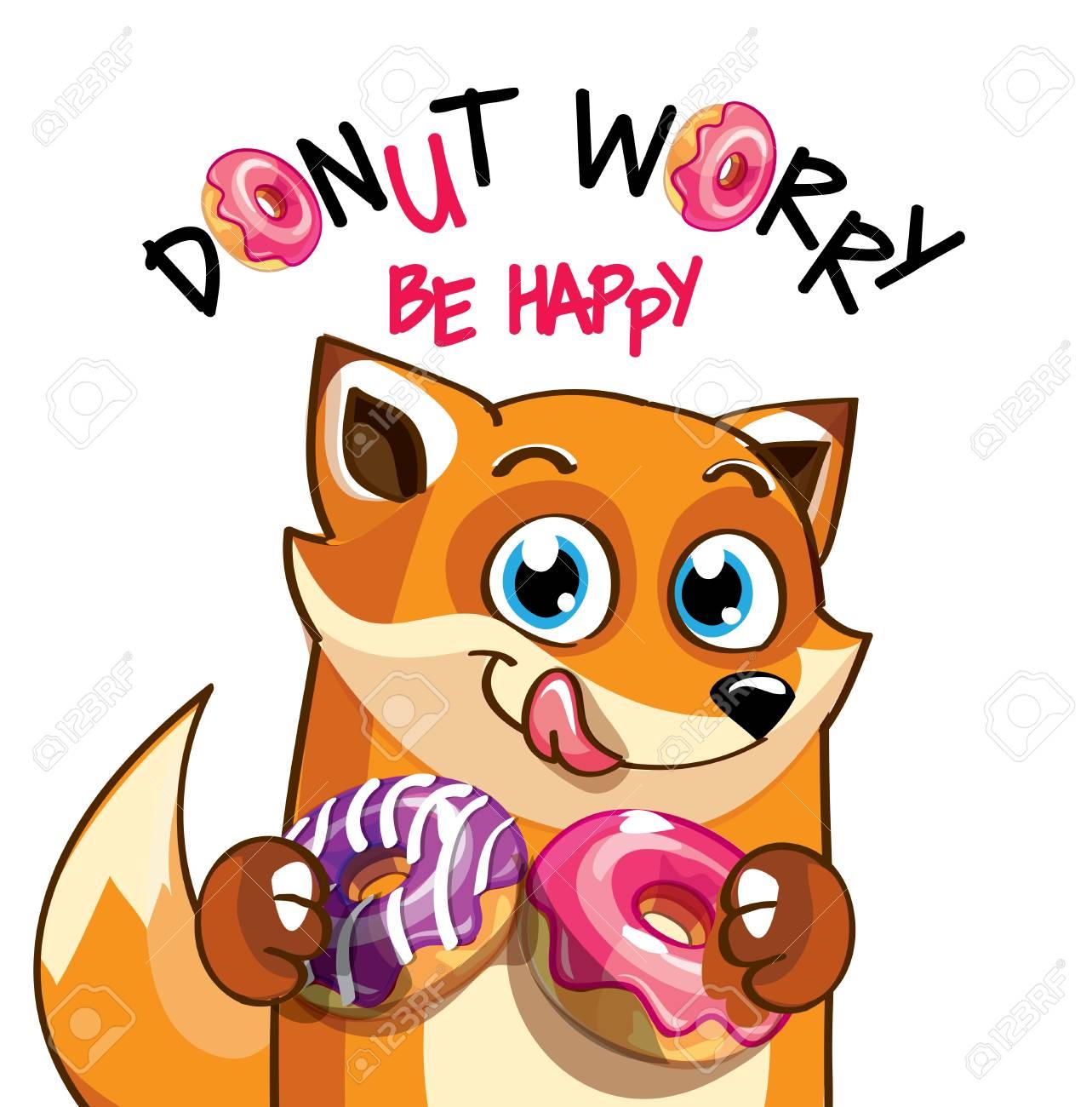 Vector illustration of cartoon fox with donuts. - 98896100
