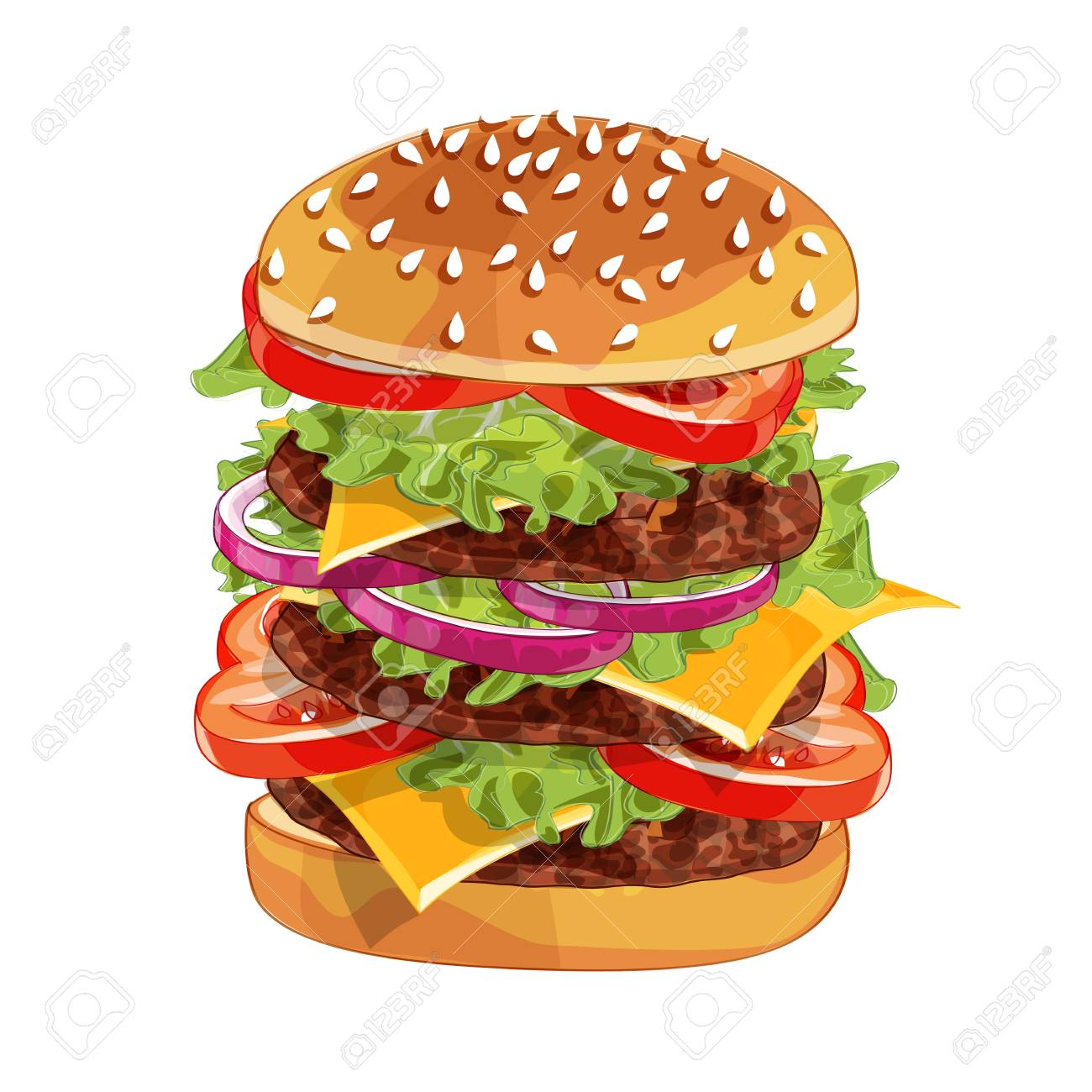 Vector realistic illustration pattern of burger, delicious hamburger with ingredients lettuce, onion, patty, tomato, cheese, bun isolated on white background - 123124843