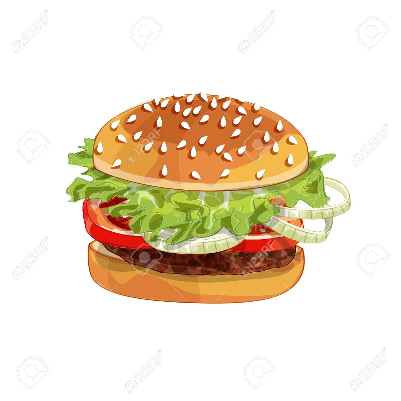 Vector realistic illustration pattern of burger, delicious hamburger with ingredients lettuce, onion, patty, tomato, cheese, bun isolated on white background - 123124845