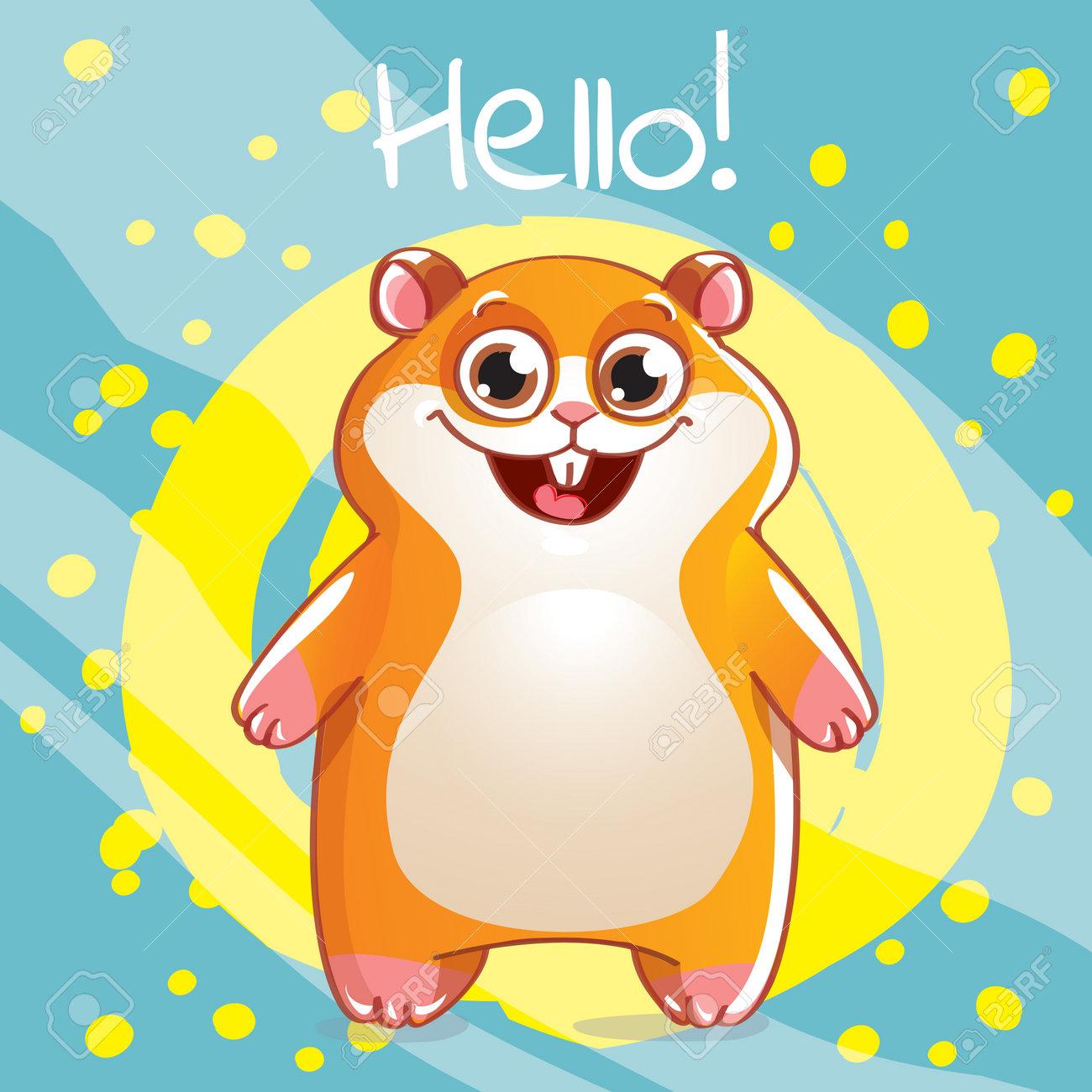 Vector illustration of cute cartoon hapy fun hamster. Greeting card, postcard. Hello. - 161167076