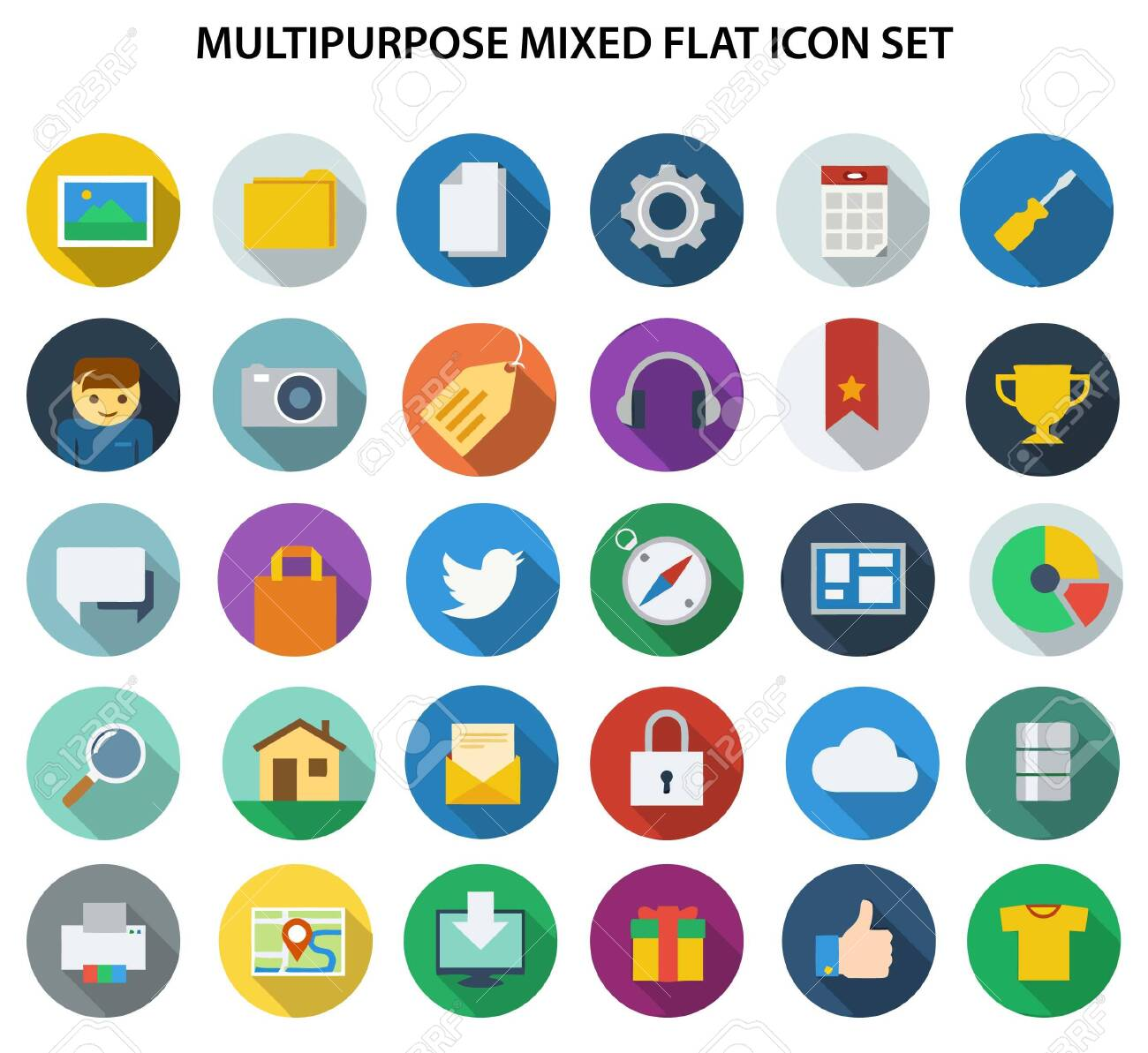 A great collection of mixed flat icon for web design, graphics design. - 146487685