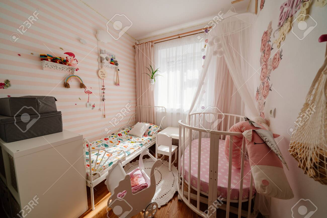 Picture of: Beautiful Little Cosy White Kids Room With Two Beds For Girls Stock Photo Picture And Royalty Free Image Image 150262638