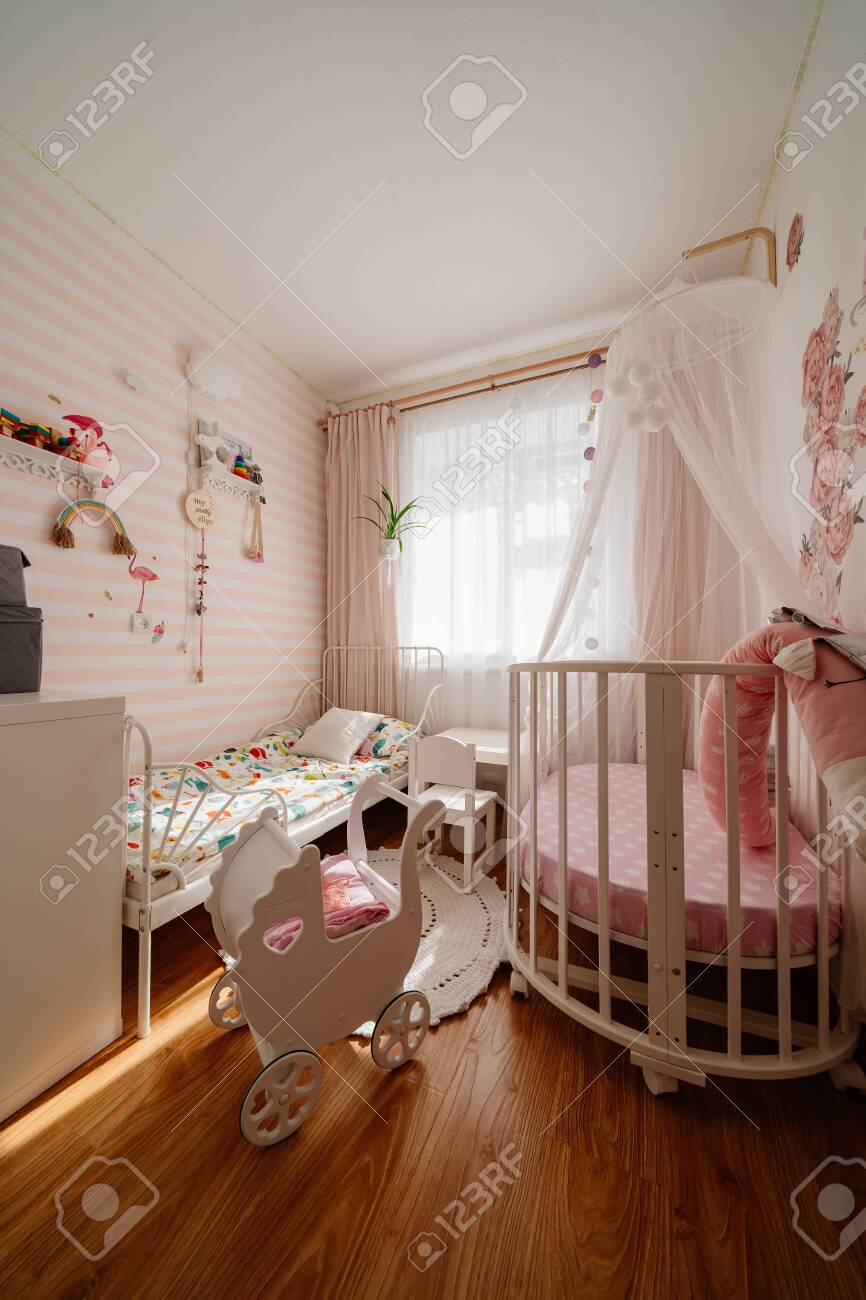 Beautiful Little Cosy White Kids Room With Two Beds For Girls Stock Photo Picture And Royalty Free Image 150426823