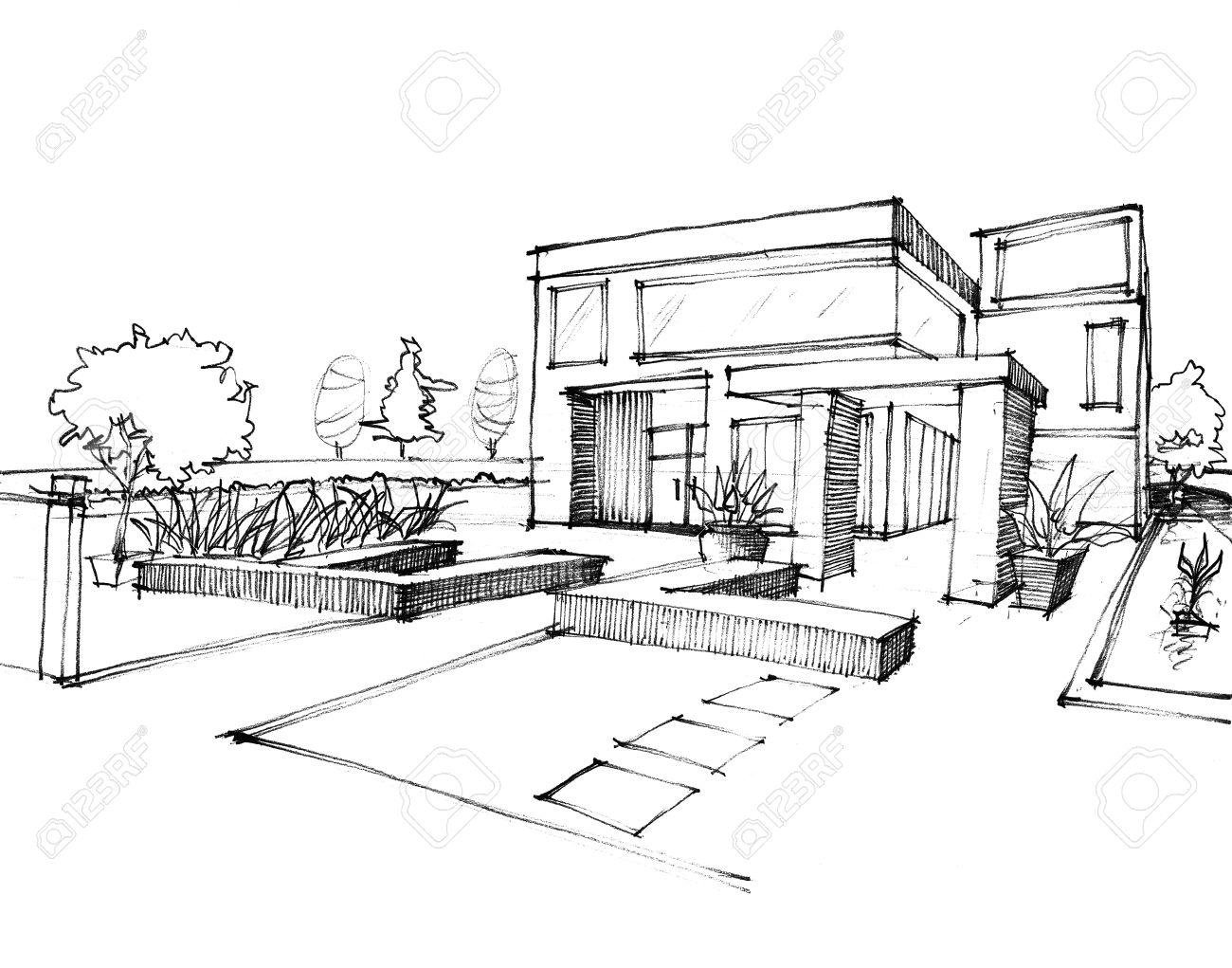 House Sketch Design Part - 19: Home Sketch Design On White Paper Stock Photo - 13524439