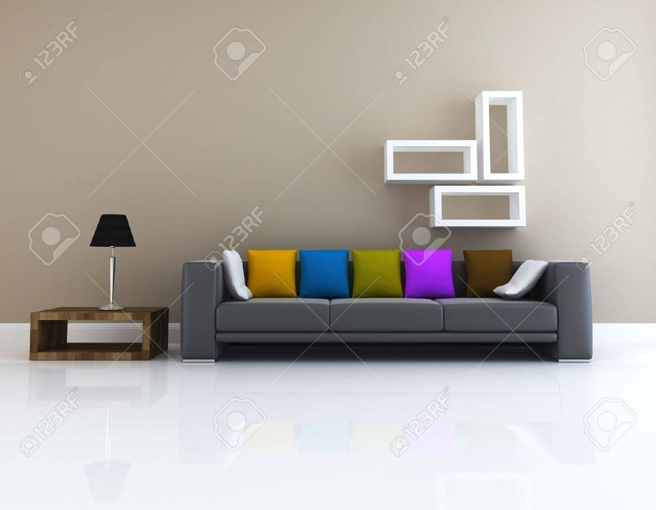 Interior Of Living Room Design 3D Rendering Stock Photo, Picture ...