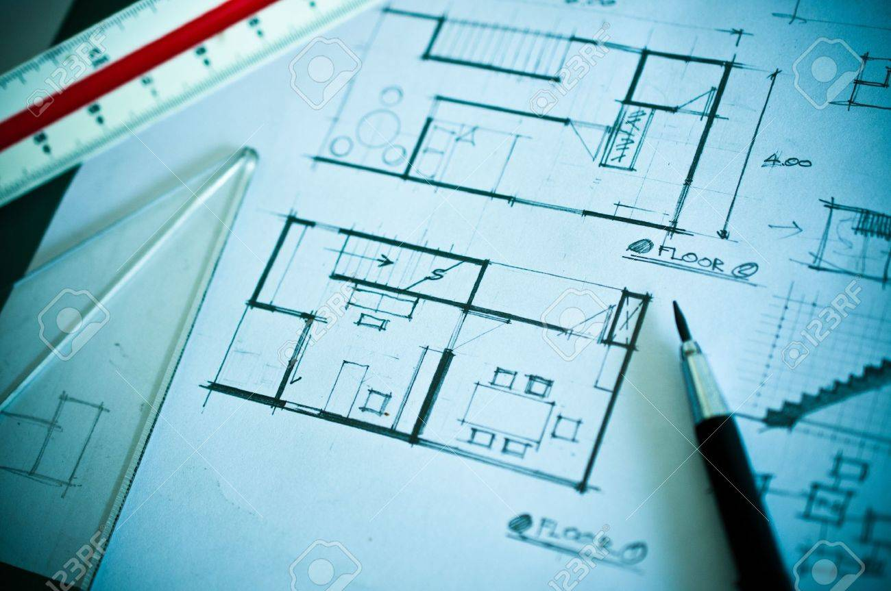 Stock Photo   Work Of Interior Design Concept And Drawing Tools