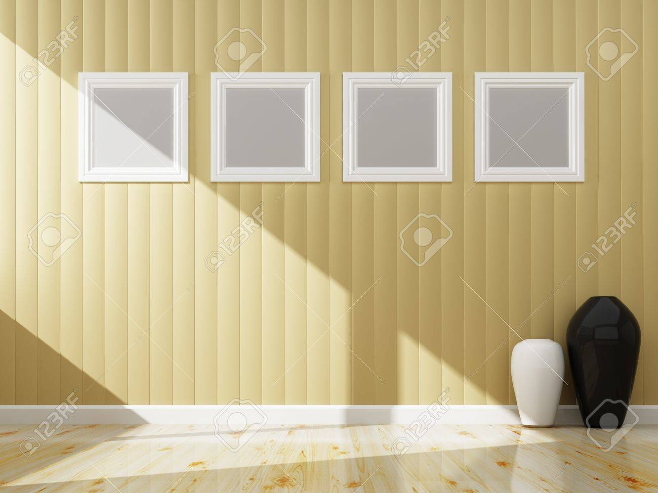 Cream Wall Color And White Frame Of Interior, 3d Rendering Stock ...
