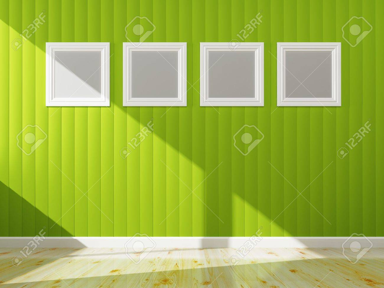 Groene muur kleur en wit frame van interieur, 3d rendering royalty ...