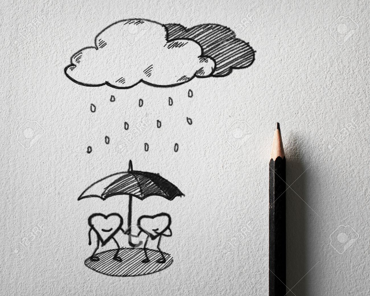 Pencil sketching for heart protect the rain concept on white paper stock photo 23468645