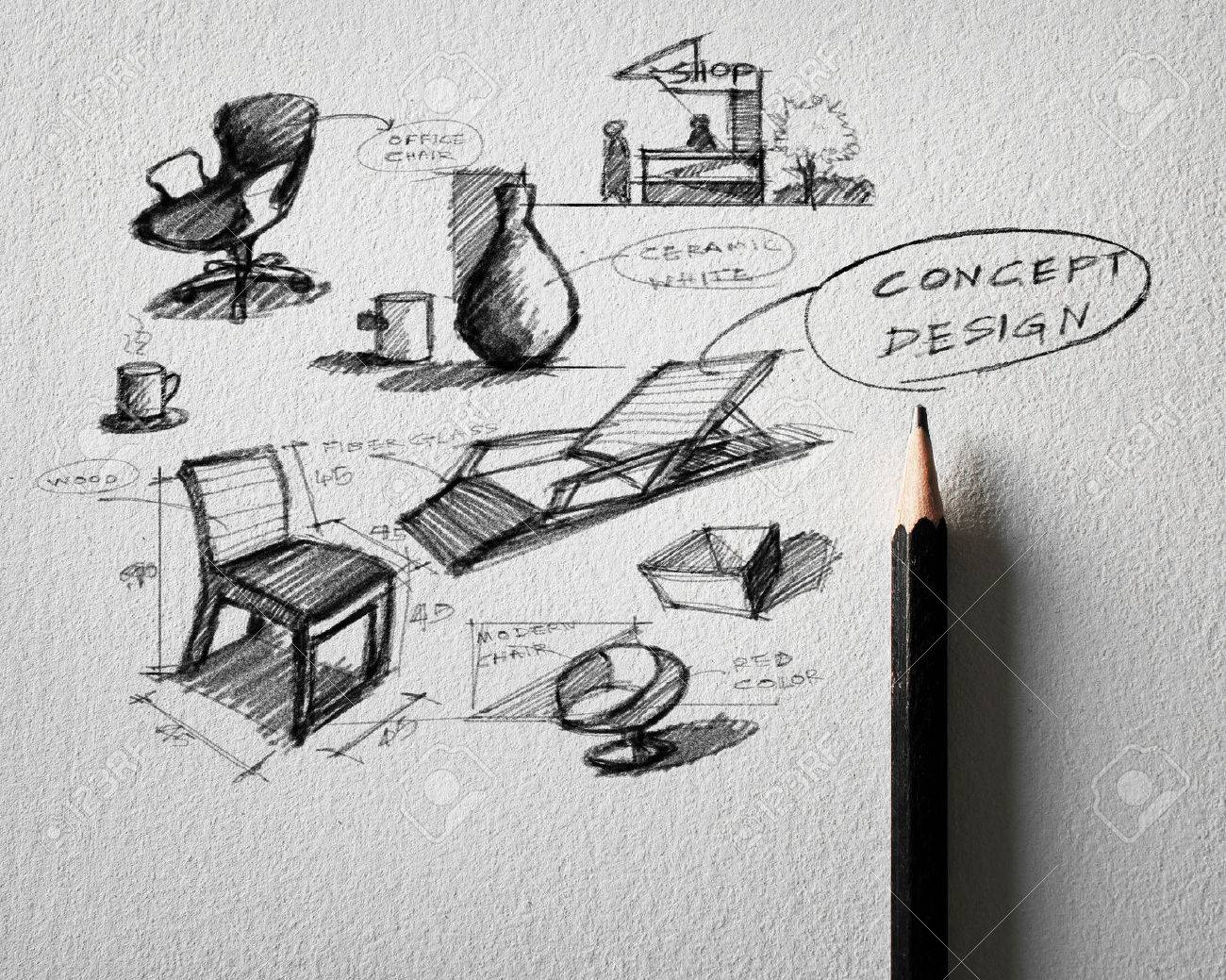 Pencil sketch of furniture concept design on white paper stock photo 23468652