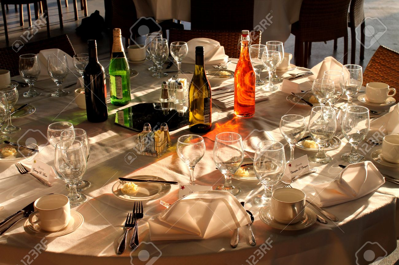 Wonderful Outdoor Table Setting At A Fancy Restraunt Stock Photo   12468284