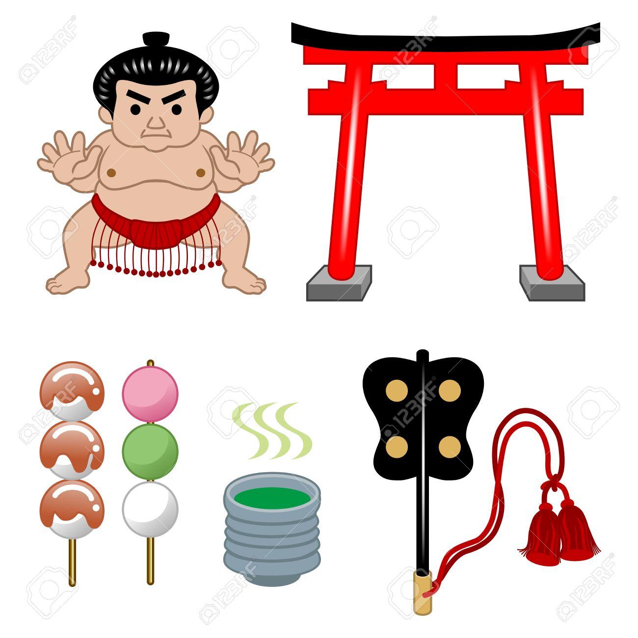 お相撲さんと日本文化のイラスト素材ベクタ Image 12847988
