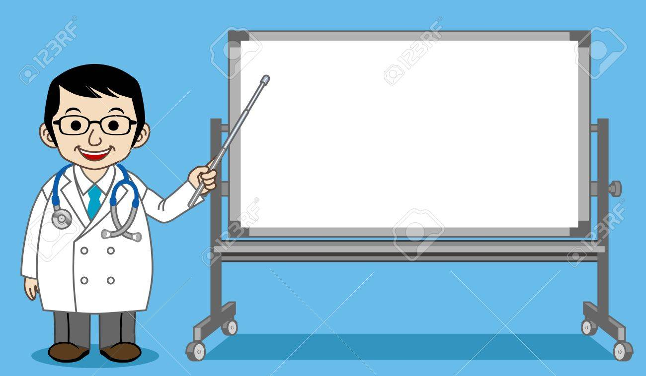 The Doctor who explains with Whiteboard Stock Vector - 13074856
