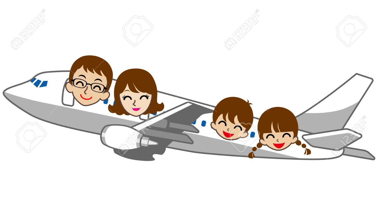 Family Travel Isolated On White Stock Vector