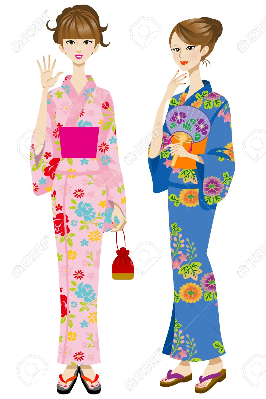 Two beautiful women wearing yukata Stock Vector - 13361484