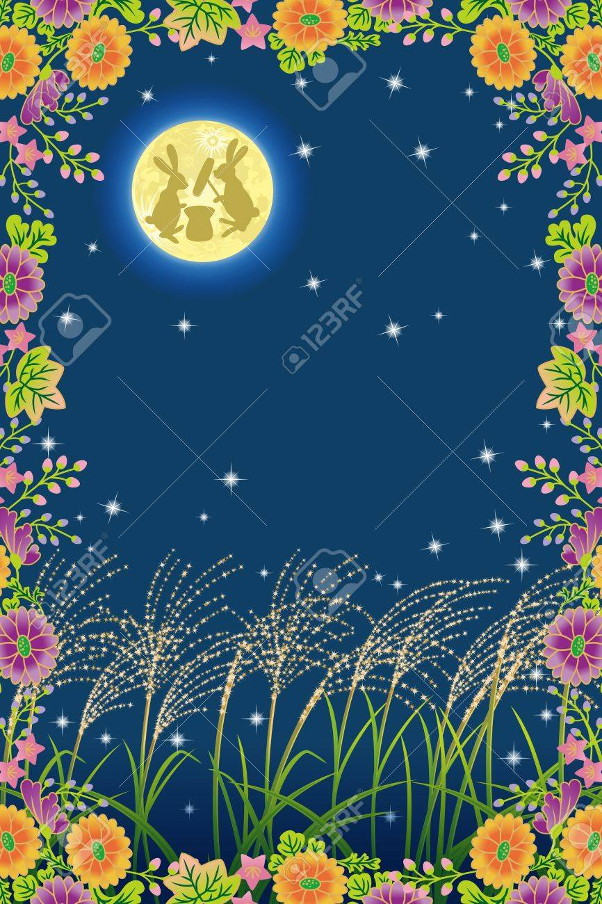 Japanese Harvest moon and Autumn Flower Stock Vector - 15116283