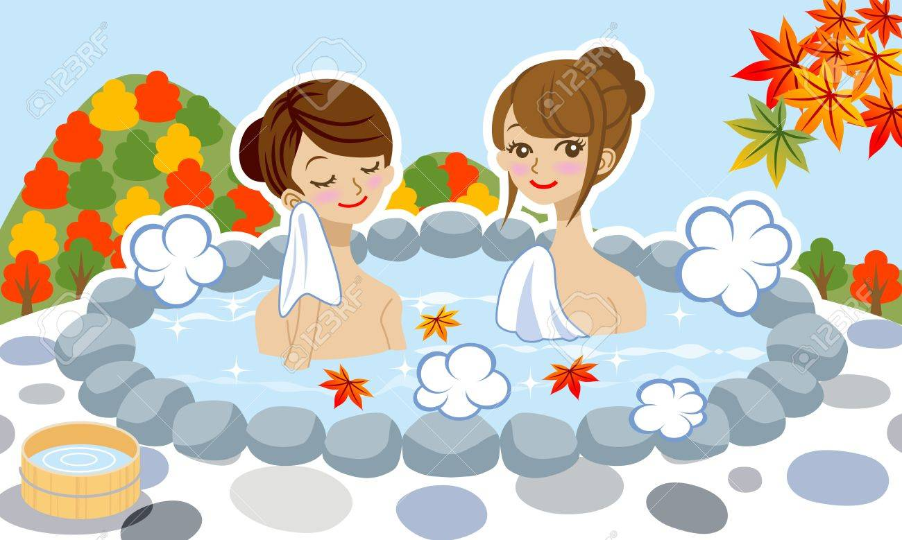 Two Women Enjoy Japanese Hot Spring In Autumn Royalty Free Cliparts ...