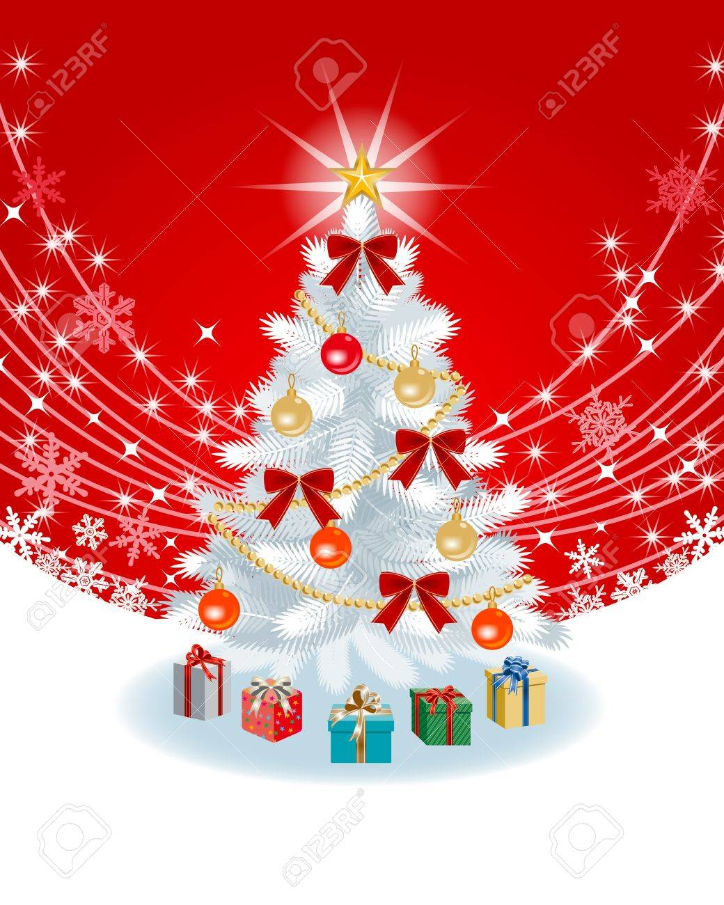 White Christmas tree on Red color Back ground Stock Vector - 16067169