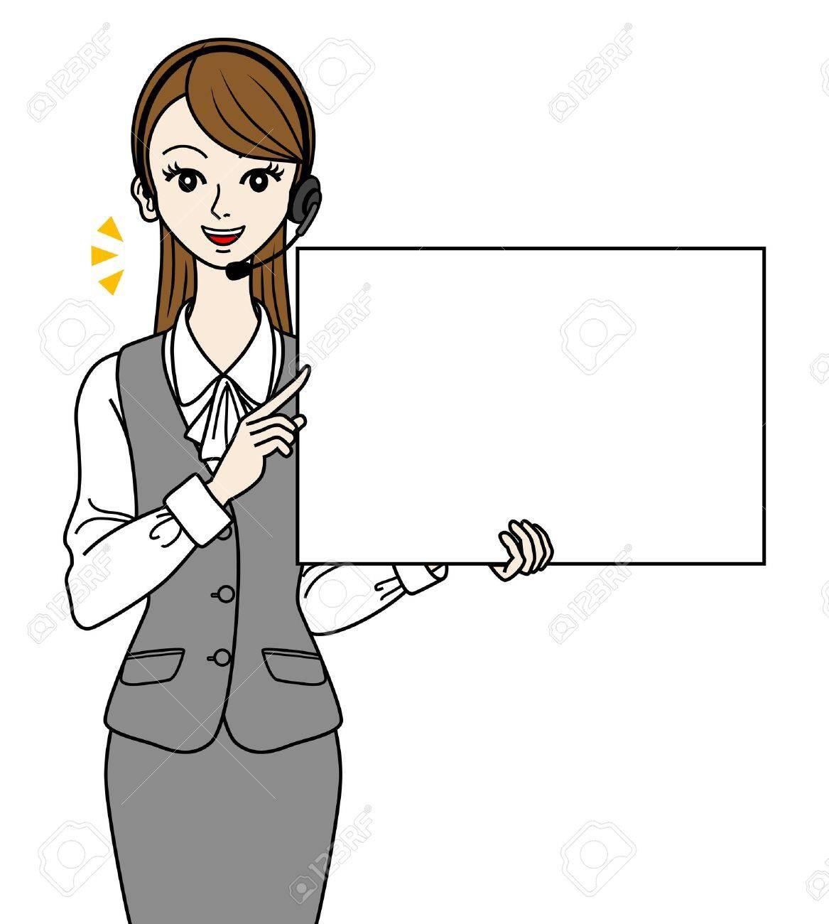 Operator with white board, -speak- Stock Vector - 16298626