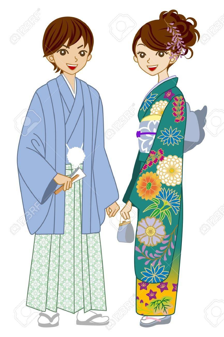 Couple wearing kimono -bluegreen Stock Vector - 16671406