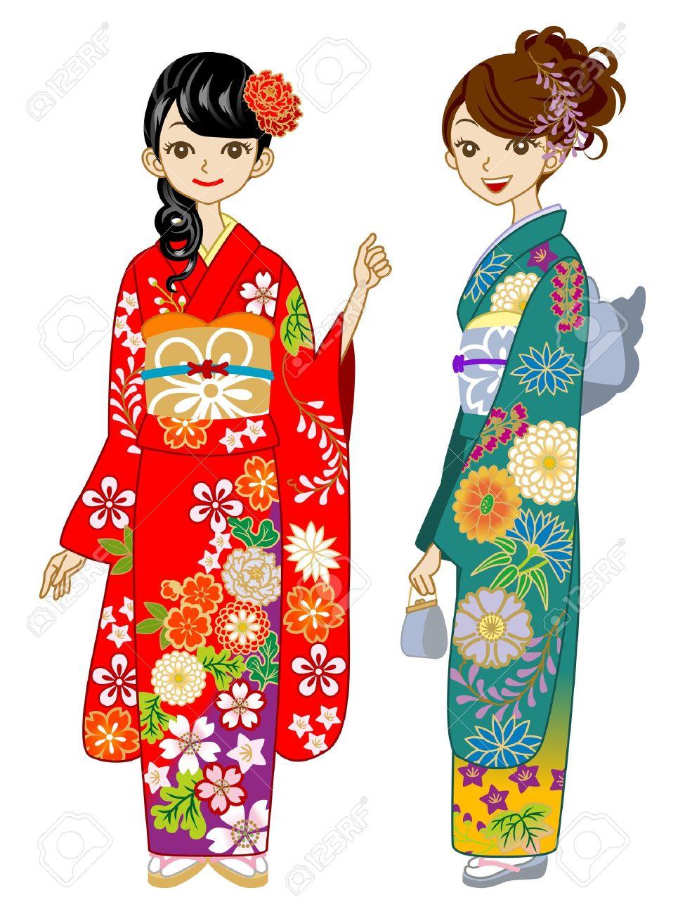Two young women wearing Kimono Stock Vector - 16671404