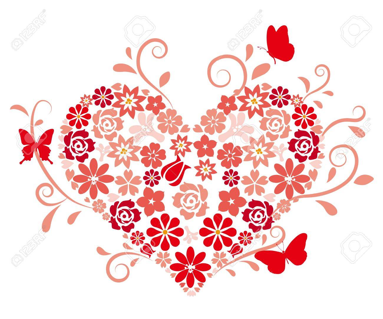 heart shape maked by flowers royalty free cliparts, vectors, and, Beautiful flower