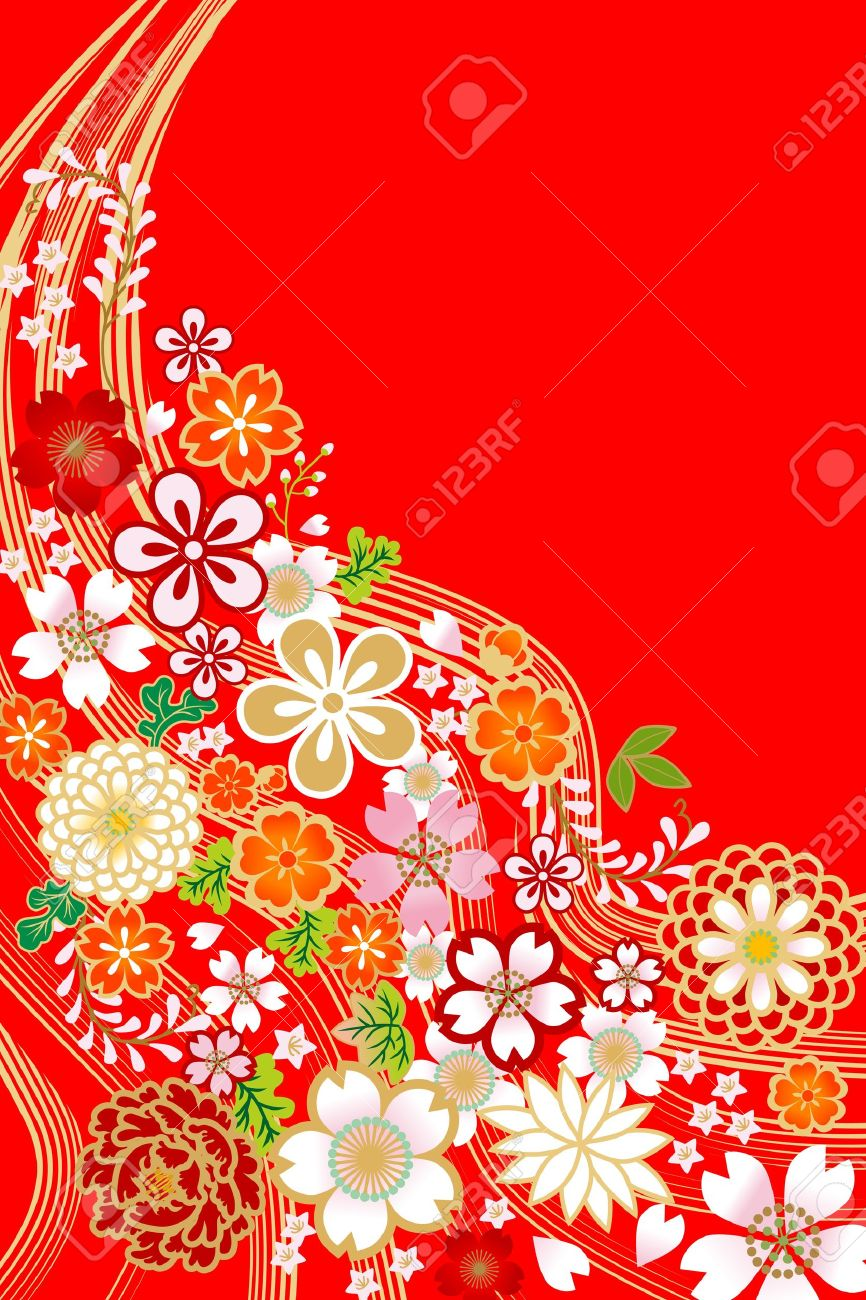 flower design,japanese style royalty free cliparts, vectors, and