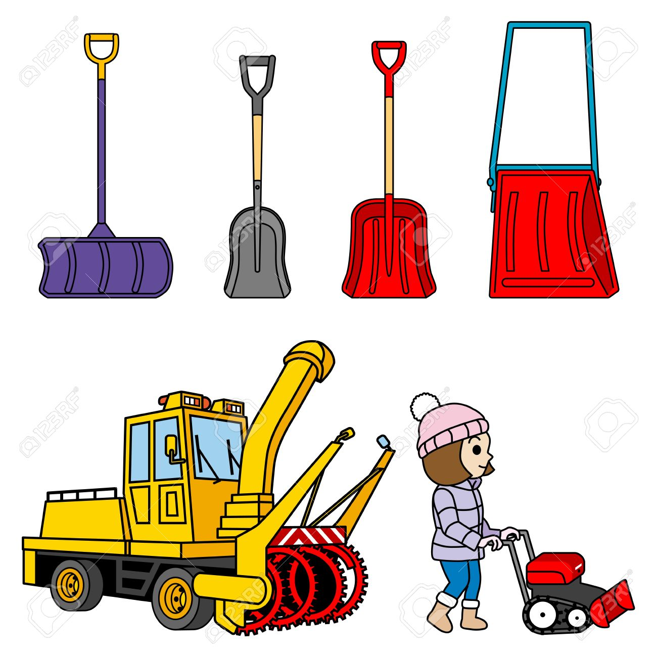 Snow removal tool, shovel and Snowplow Stock Vector - 17023467