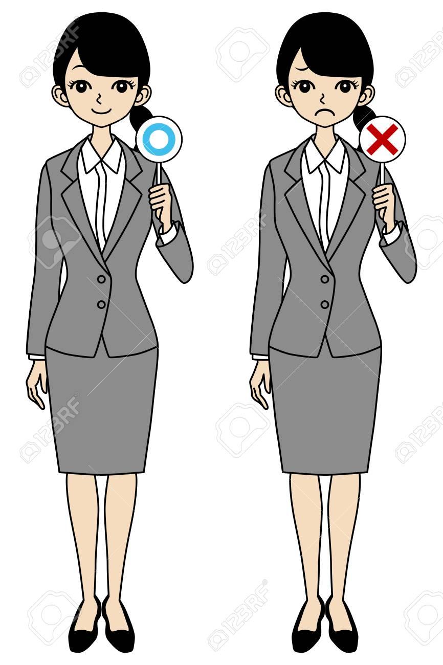 Businesswoman, correct and error Stock Vector - 17250941