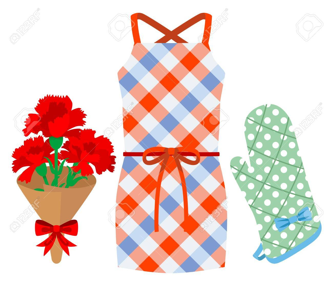 Mother s Day gift, Apron and Kitchen Mittens Stock Vector - 17631995