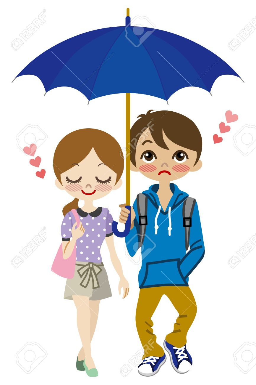 Cute Couple Share One Umbrella Royalty Free Cliparts, Vectors, And ...