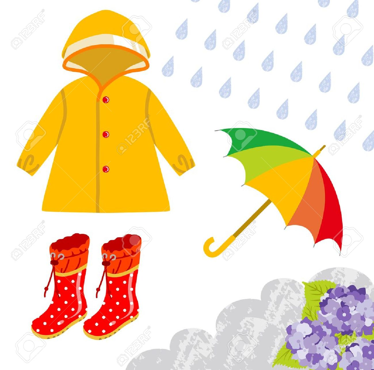 Rain gear for children Stock Vector - 18628710