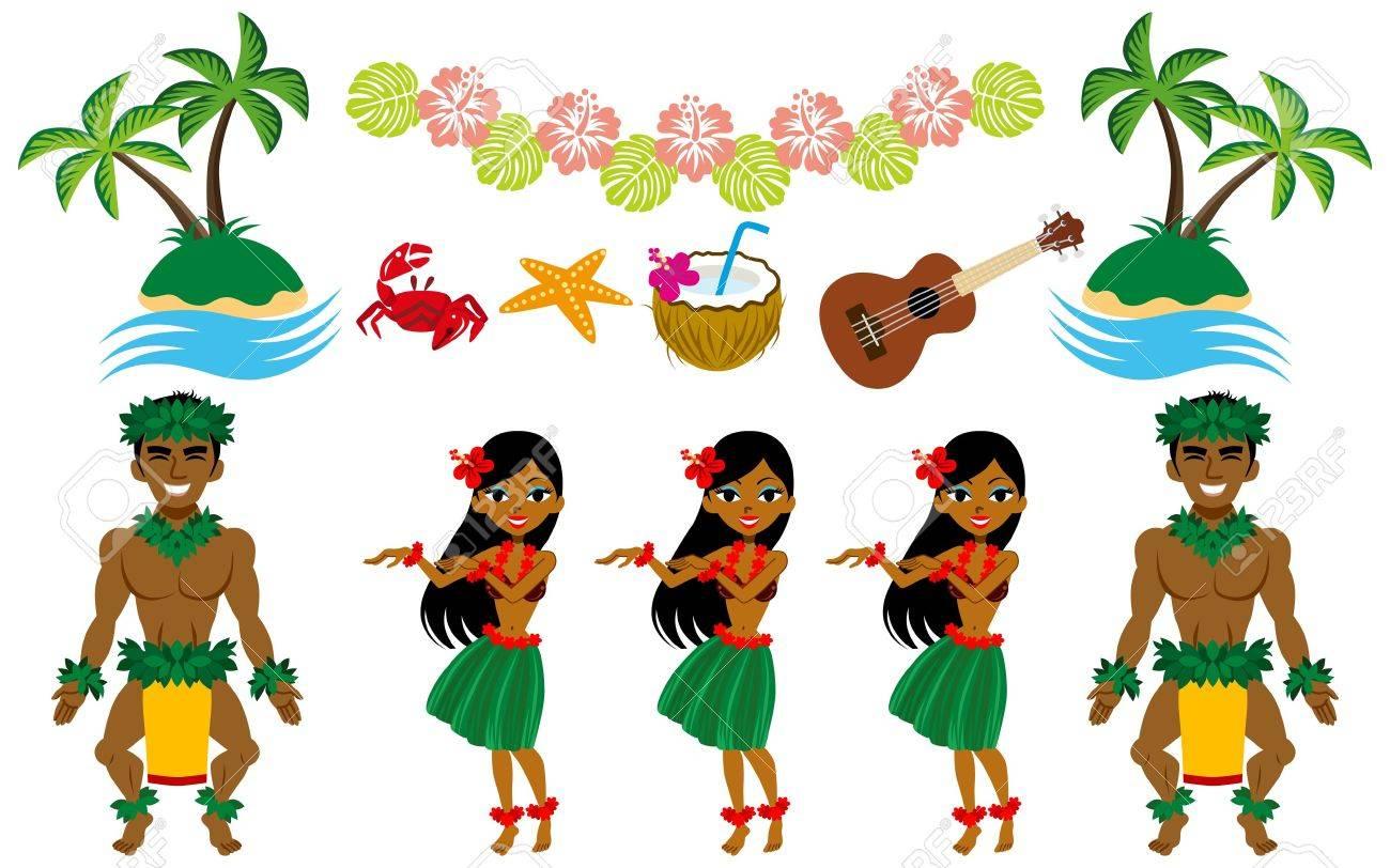 Hula Dancer And Hawaiian Image Set Royalty Free Cliparts, Vectors, And  Stock Illustration. Image 20242820.