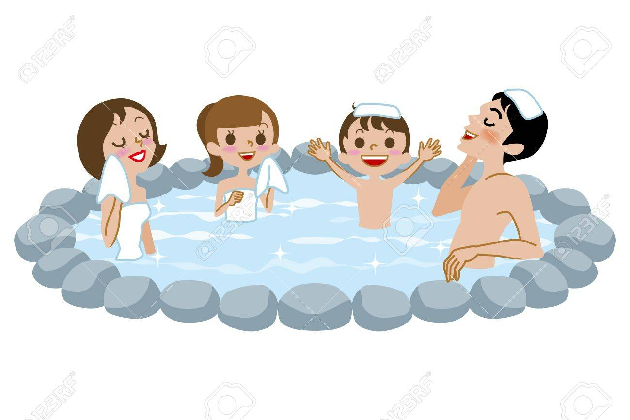 Japanese Open-air Bath,family Royalty Free Cliparts, Vectors, And ...