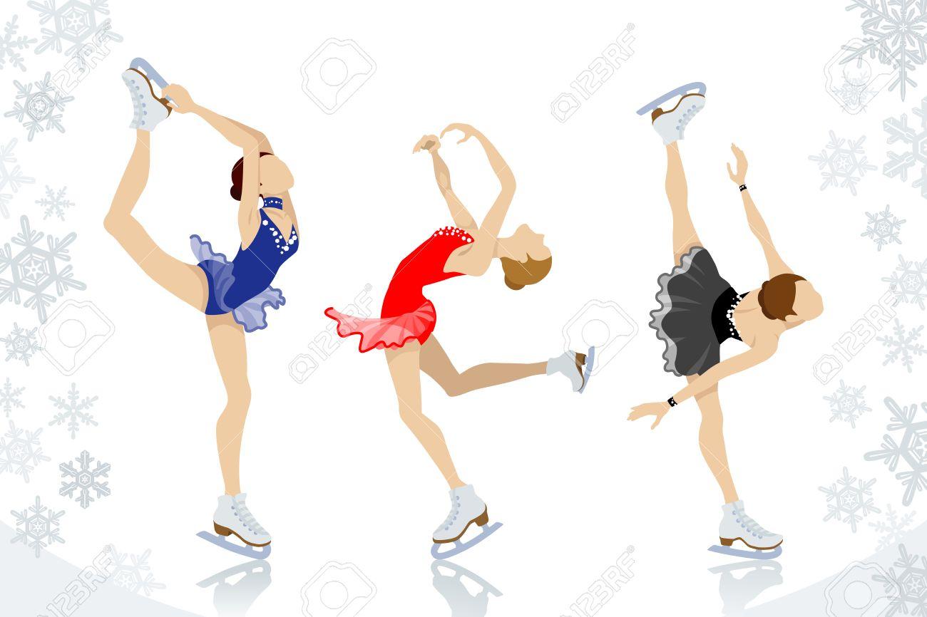 Figure Skating,three women Stock Vector - 23012447