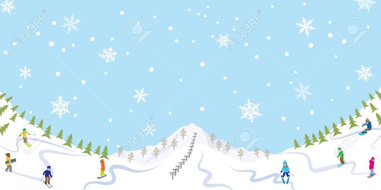 雪のスキー場のイラスト素材ベクタ Image 23012463