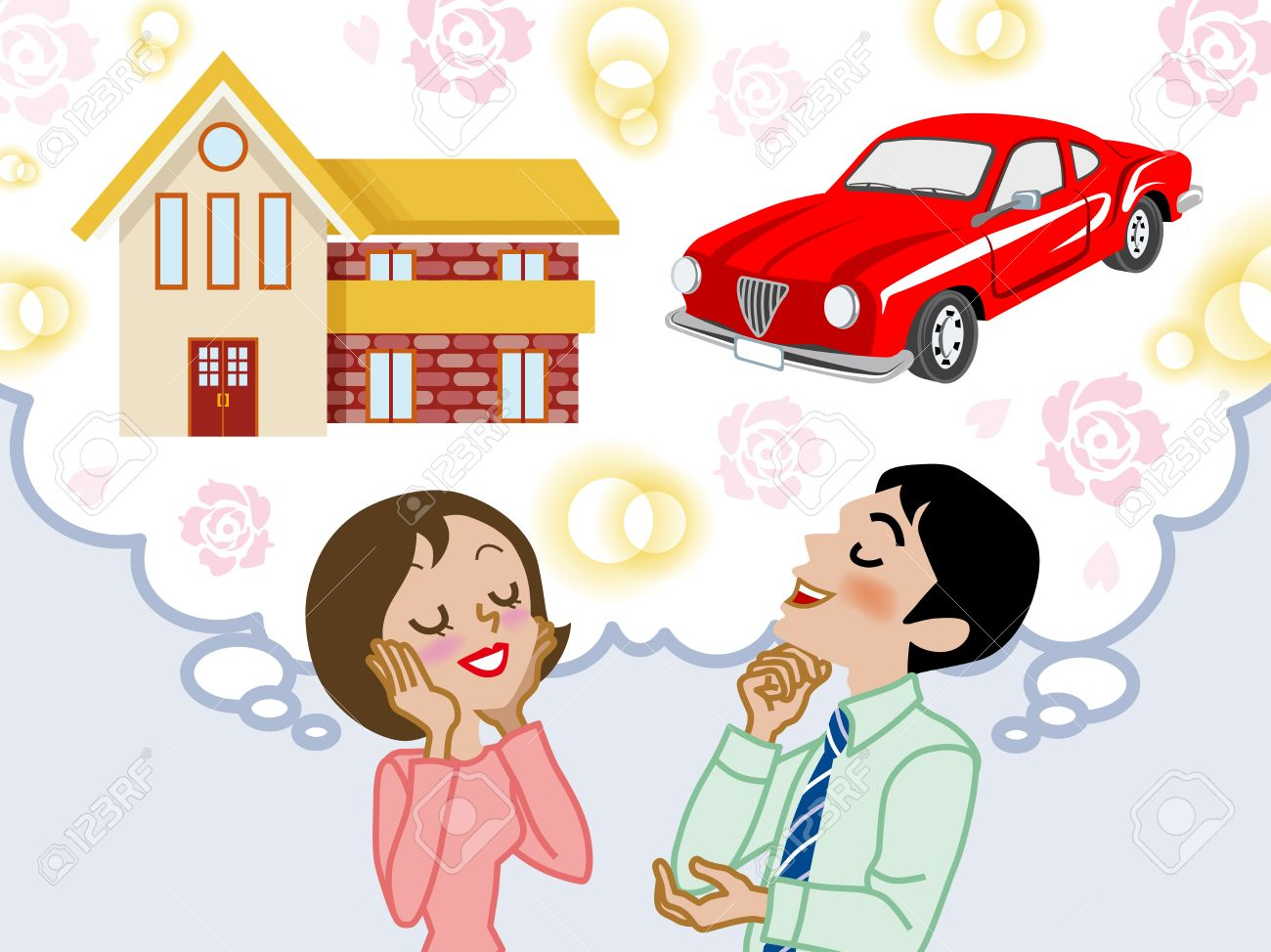 Couple dreaming house and car Stock Vector - 24080702