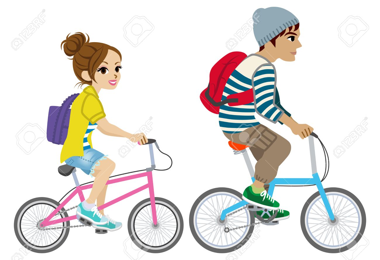 Young Couple Riding Bicycle Isolated Royalty Free Cliparts Vectors
