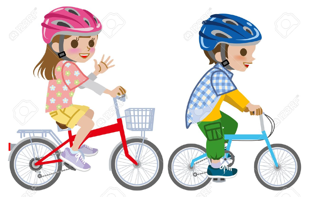Kids Riding Bicyclewore Helmet Isolated Stock Vector