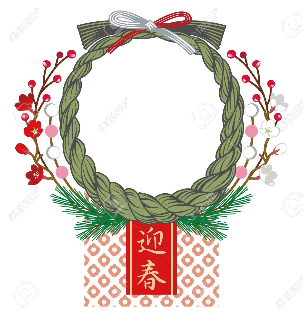 japanese new year wreath decoration royalty free cliparts, vectors