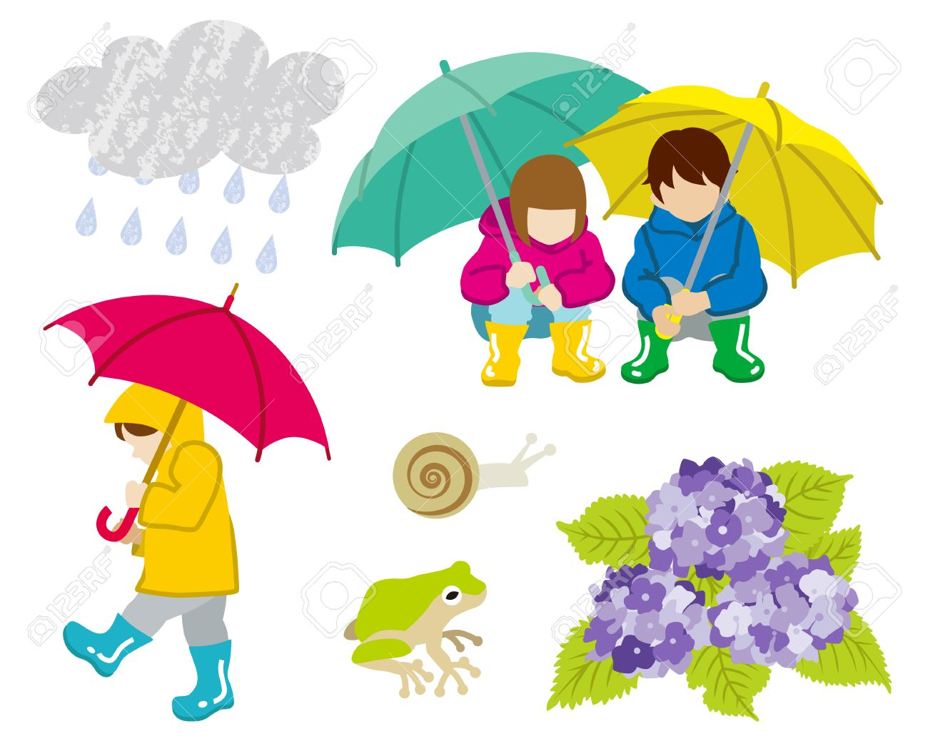 rainy day children clip art set royalty free cliparts vectors