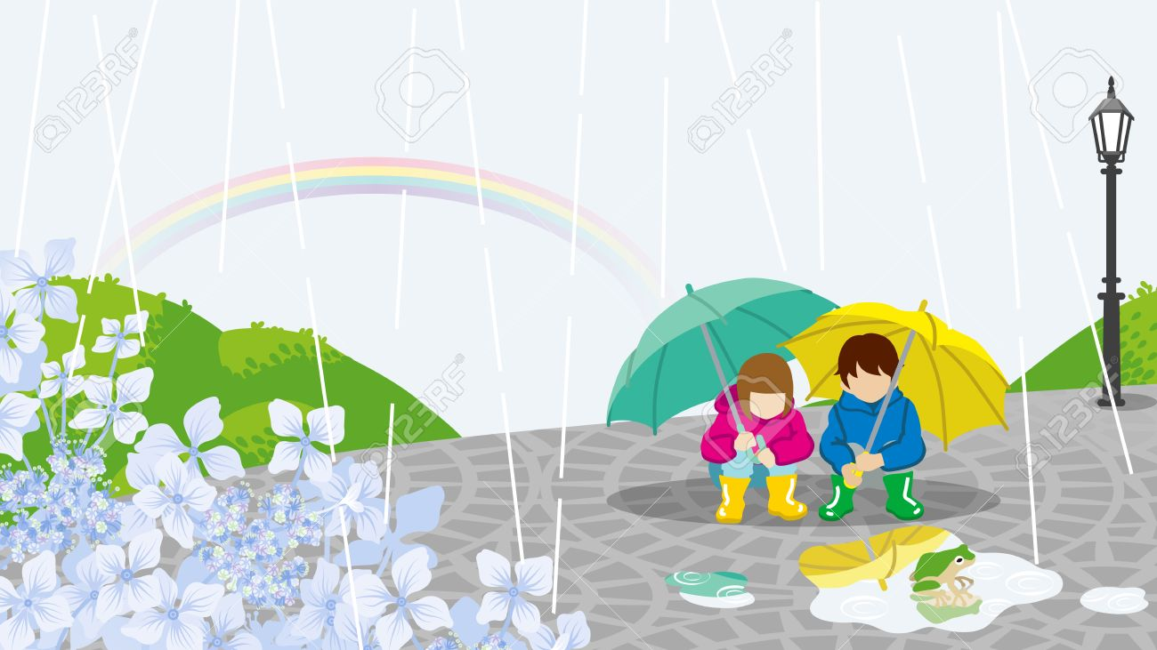 children in rainy day scenery royalty free cliparts vectors and rh 123rf com rainy day clip art free rainy day clipart pictures