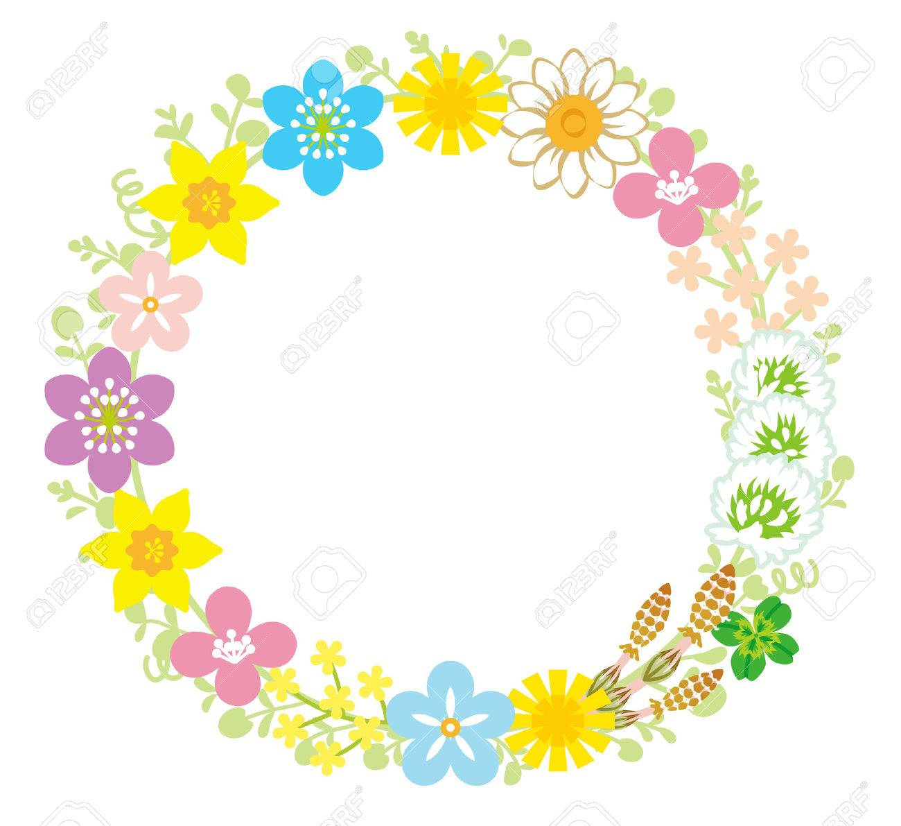 spring flower wreath royalty free cliparts vectors and stock rh 123rf com