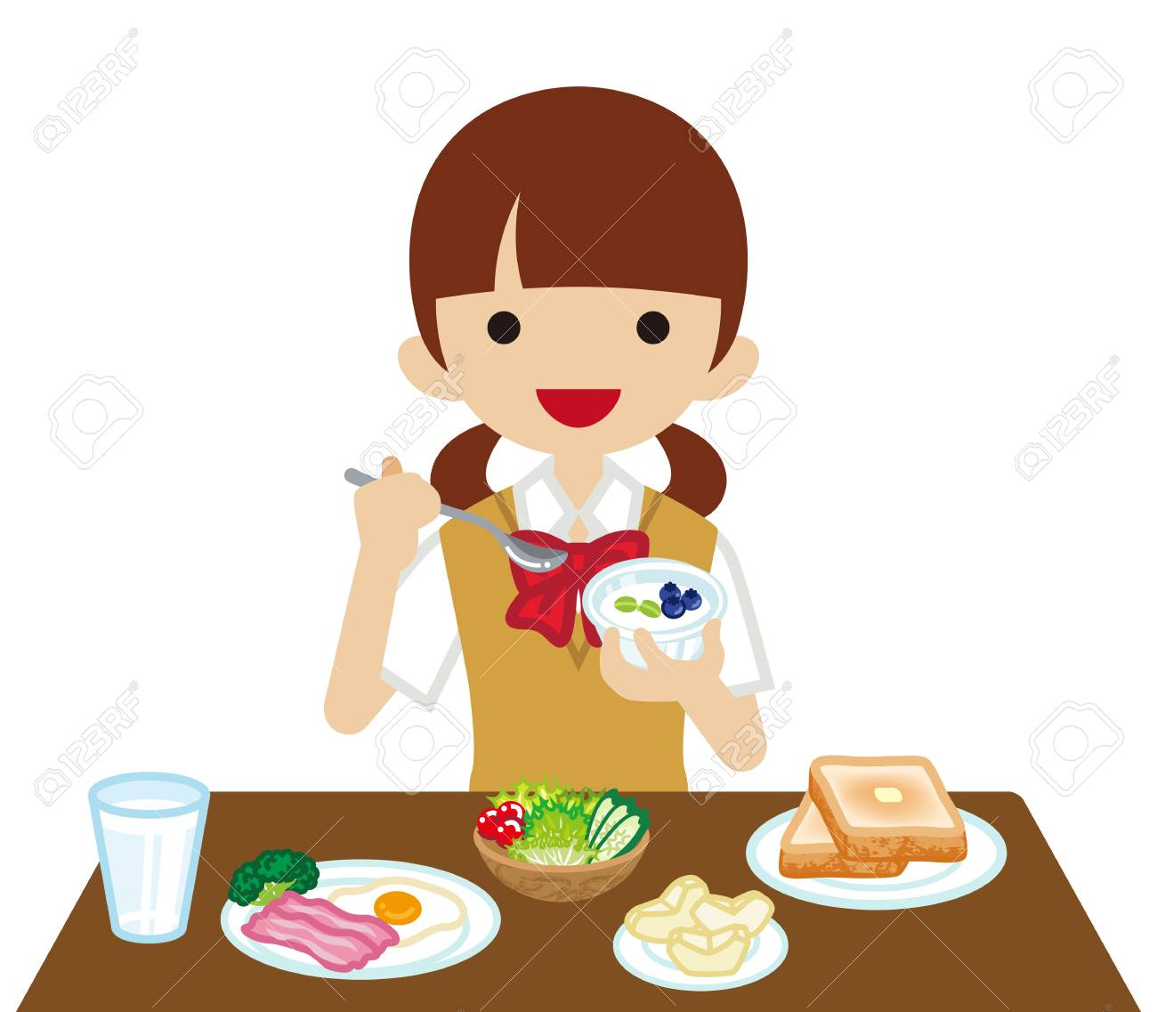 schoolgirl eating breakfast royalty free cliparts vectors and rh 123rf com person eating breakfast clipart eating breakfast clipart black and white
